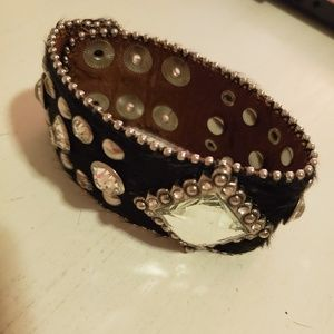 Cute Black Leather and Rhinestone 3 snap bracelet